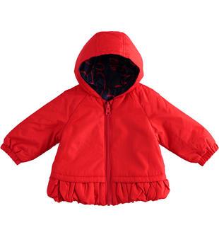 Giubbotto reversibile neonata in nylon maniche lunghe e cappuccio minibanda NAVY- ROSSO-6MS6