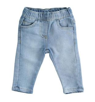 Pantalone neonata in morbida felpa effetto denim misto cotone minibanda STONE WASHED CHIARO-7400