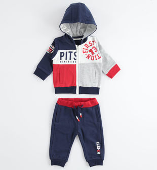 Tuta jogging neonato in cotone con felpa cpn cappuccio minibanda NAVY-3854