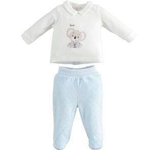 Tutina neonato in morbida ciniglia modello spezzato minibanda SKY-5818