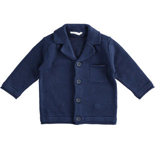 Giacca modello cardigan in tricot misto cotone, viscosa e cachemire minibanda NAVY-3854