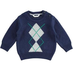 Maglia tricot girocollo in tessuto misto cotone, viscosa e cachemire minibanda NAVY-3854