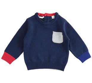 Maglioncino neonato misto cotone e lana con gioco di colori a contrasto minibanda NAVY-3854