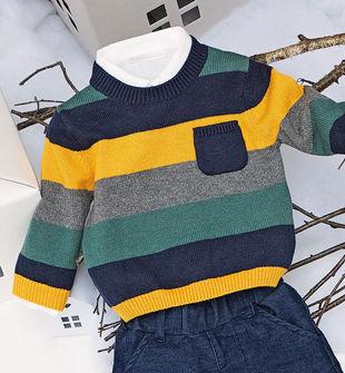 Maglioncino girocollo per neonato in cotone misto lana minibanda GIALLO-1615