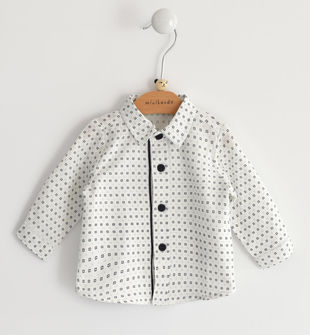 Camicia neonato in twill 100% cotone con stampa microcravatteria minibanda PANNA-BLU-6LE5