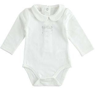 Body neonato modello unisex in jersey di cotone stretch minibanda PANNA-0112