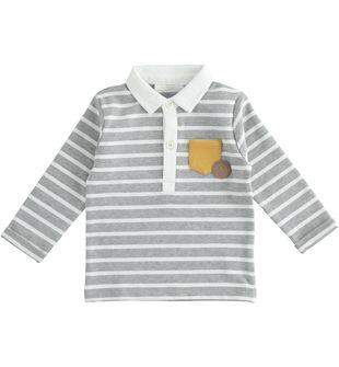 Polo neonato misto cotone stretch con gioco di micro righe all over minibanda GRIGIO MELANGE-8992