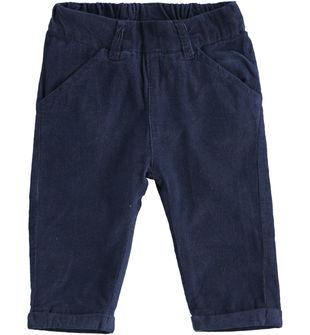 Pantalone neonato in velluto mille righe tinta unita foderato minibanda NAVY-3854