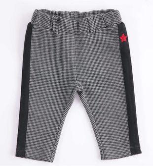 Pantalone neonato in felpa con stampa pied de poule minibanda GRIGIO MELANGE-8993
