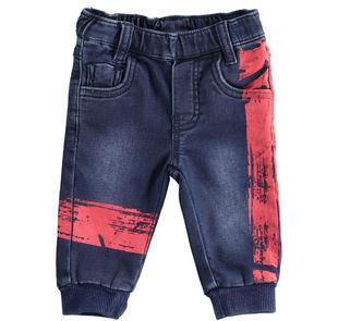 Grintoso e comodo pantalone neonato in felpa effetto denim minibanda BLU-7750