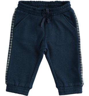 Comodo pantalone neonato in felpa misto cotone e viscosa minibanda NAVY-3854