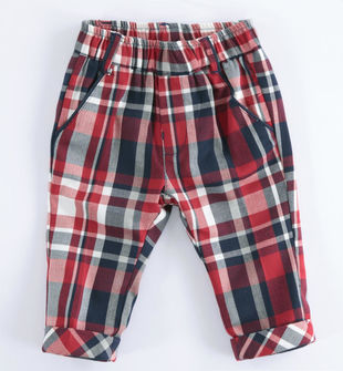 Pantalone neonato modello chinos in viscosa stretch stampa check minibanda ROSSO-2253