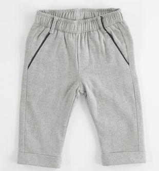 Pantalone neonato modello chinos in viscosa stretch stampa check minibanda GRIGIO MELANGE-8992