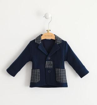 Giacca neonato in maglia cotone misto viscosa con collo revers minibanda NAVY-3854