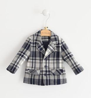 Comoda giacca neonato in tessuto misto viscosa stretch minibanda NAVY-3854