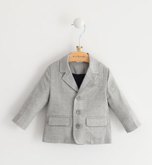 Comoda giacca neonato in tessuto misto viscosa stretch minibanda GRIGIO MELANGE-8992