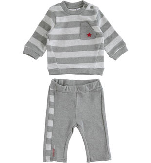 Completo neonato in cotone stretch mano caldo con felpa rigata minibanda GRIGIO MELANGE-8993