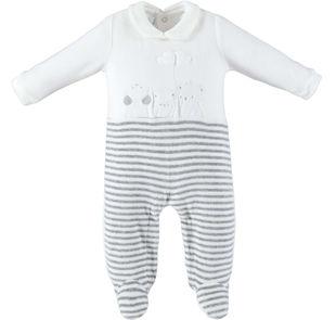 Tutina intera modello unisex per neonato in ciniglia minibanda PANNA-0112