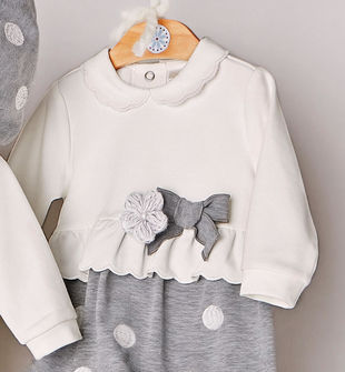 Tutina spezzata neonata con pantalone ricamato fantasia pois minibanda GRIGIO MELANGE-8970