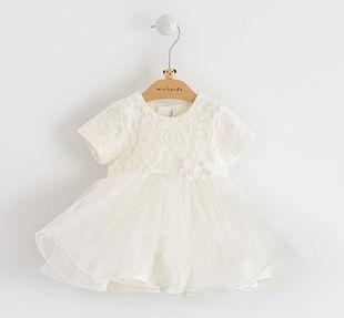 Raffinato ed elegante vestito neonata battesimo con corpino in pizzo minibanda PANNA-0112