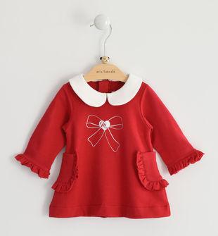 Vestitino neonata a manica lunga in felpa stretch minibanda ROSSO-2253