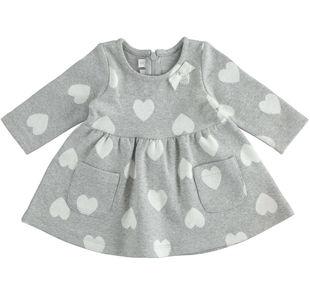 Vestitino neonata in maglia jacquard di cotone stretch minibanda GRIGIO MELANGE-8992