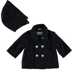 Cappotto doppio petto con cappuccio staccabile minibanda NAVY SCURO - 8911