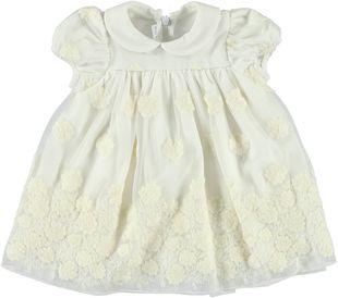 Abitino neonata in tulle bianco minibanda PANNA - 0112