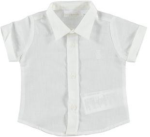 Camicia a manica corta in tela misto cotone e lino minibanda BIANCO-0113