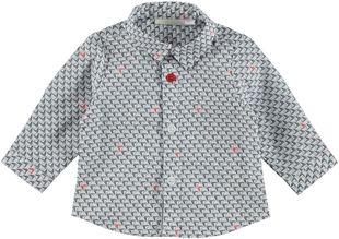 Camicia classica a manica lunga in misto cotone elasticizzato minibanda BIANCO-BARCHETTE-6D60