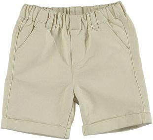 Pantalone corto cotone misto lino minibanda BEIGE - 0152