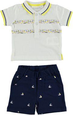 Completo maglietta e pantaloncino corto con barchette minibanda GIALLO - 1431