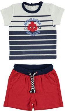 Colorato completo a righe maglietta e pantaloncino 100% cotone minibanda ROSSO - 2256