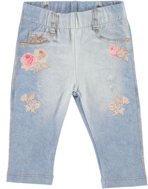 Originale pantalone stampato in cotone elasticizzato minibanda BIANCO-DENIM-6E46