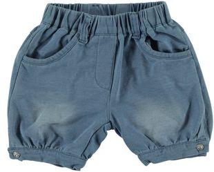 Pantaloncino corto in cotone elasticizzato effetto denim con tasche a fiocco minibanda BLU CHIARO LAVATO-7310