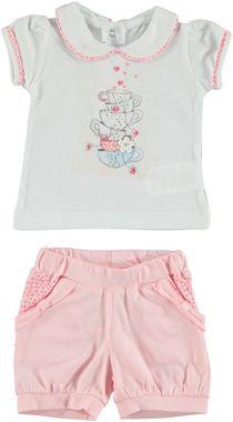 Delizioso completo 100% cotone t-shirt e shorts con tazze stampate minibanda CIPRIA - 2725