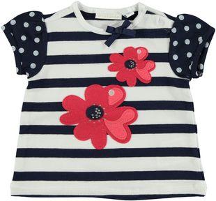Graziosa t-shirt in cotone elasticizzato con fiore minibanda NAVY - 3854
