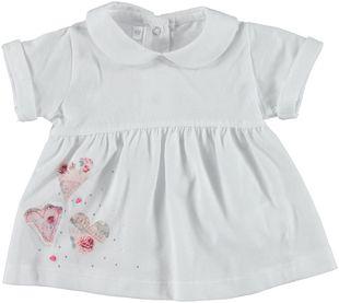 Elegante t-shirt 100% cotone con cuori e strass minibanda BIANCO - 0113