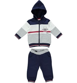 Tutina spezzata per neonato in felpa leggera garzata minibanda NAVY - 3854