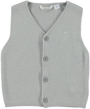 Gilet neonato in morbido tricot misto cotone, viscosa e cachemire  GRIGIO-0571