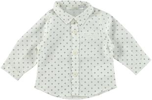 Camicia neonato 100% cotone con fantasia sbarazzina minibanda PANNA-BLU - 6N27