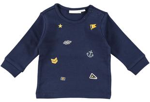 Maglietta girocollo stile marinaro per neonato minibanda NAVY - 3854