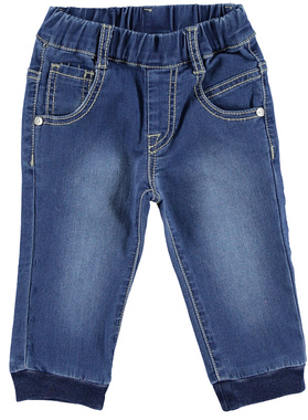 Pantalone neonato in speciale felpa effetto denim con sabbiature minibanda STONE WASHED-7450