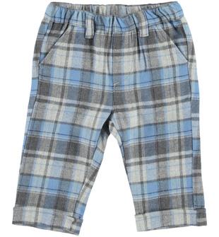 Pantalone per neonato con fantasia a quadri minibanda GRIGIO-BLU - 8225