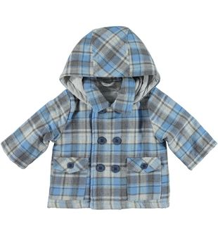 Cappotto per neonato doppio petto a quadri minibanda GRIGIO-BLU - 8225