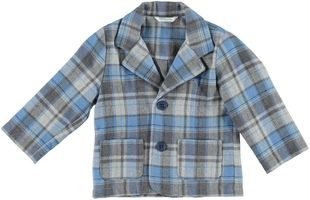 Giacchina elegante per neonato con fantasia a quadri minibanda GRIGIO-BLU-8225
