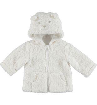Giubbottino per neonato in eco pelliccia minibanda PANNA - 0112