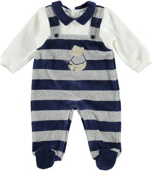 Tutina intera neonato con finta salopette in ciniglia rigata  NAVY-3854