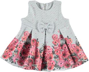 Vestitino per neonata in punto milano fantasia floreale minibanda GRIGIO-FIORI - 6N19