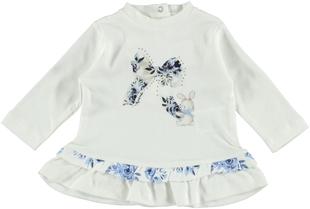 Maxi maglietta per neonata in caldo cotone al 100% minibanda NAVY - 3854